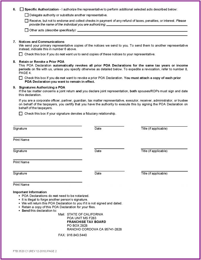 Ca Durable Power Of Attorney Form Free