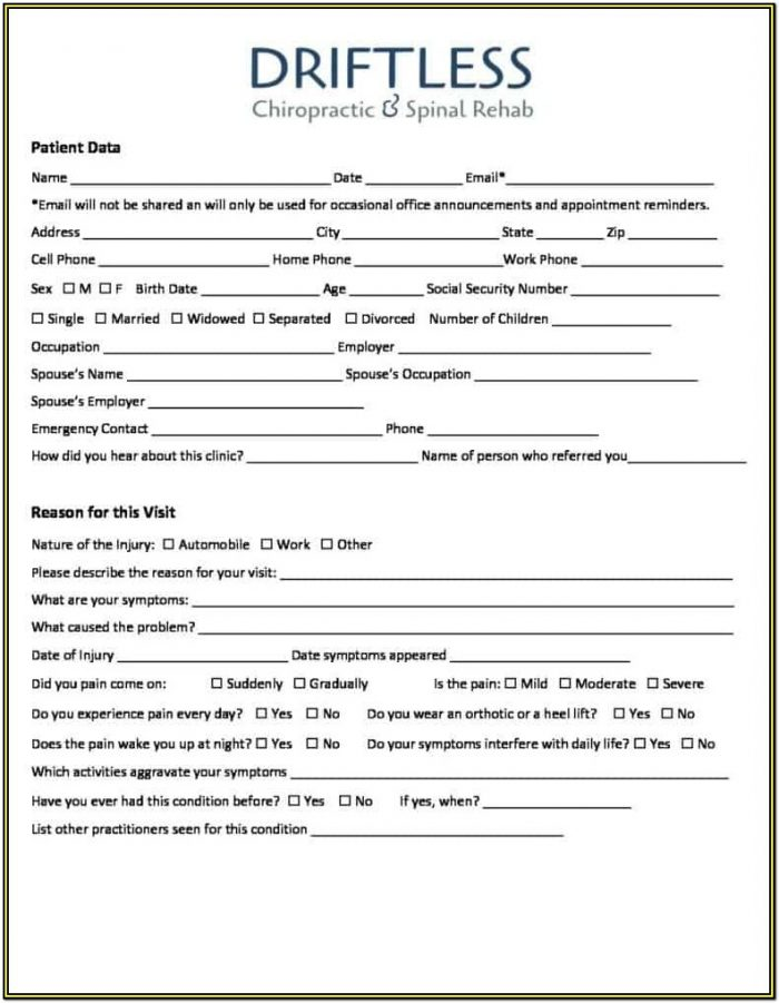 Chiropractic New Patient Forms