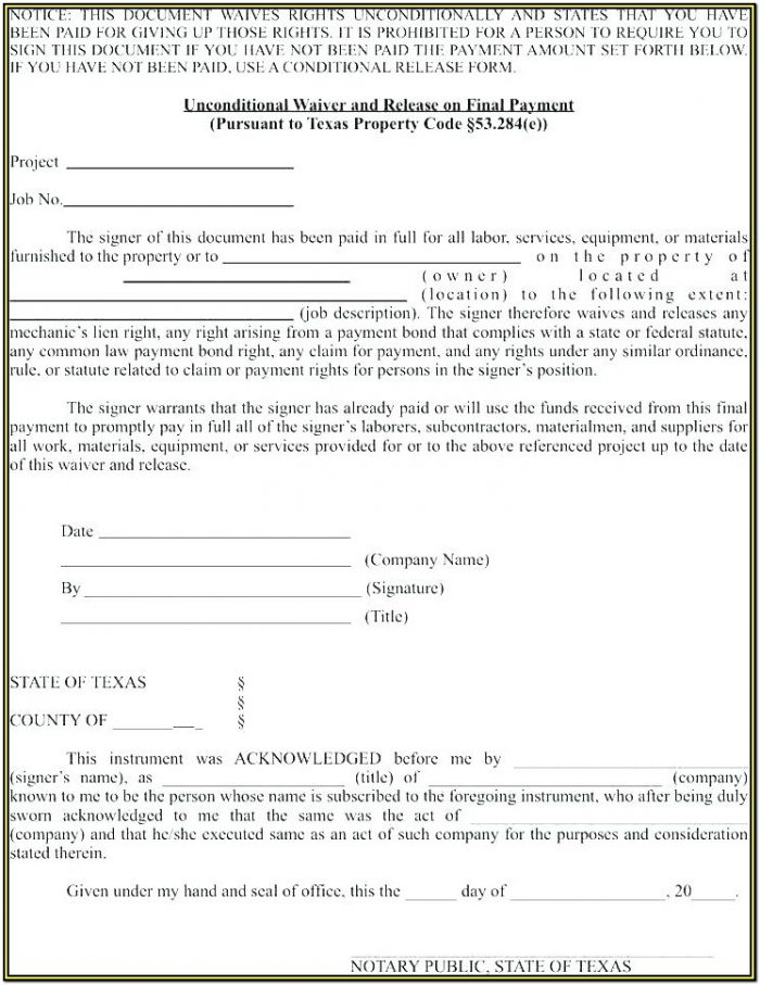 Construction Lien Waiver Form Free