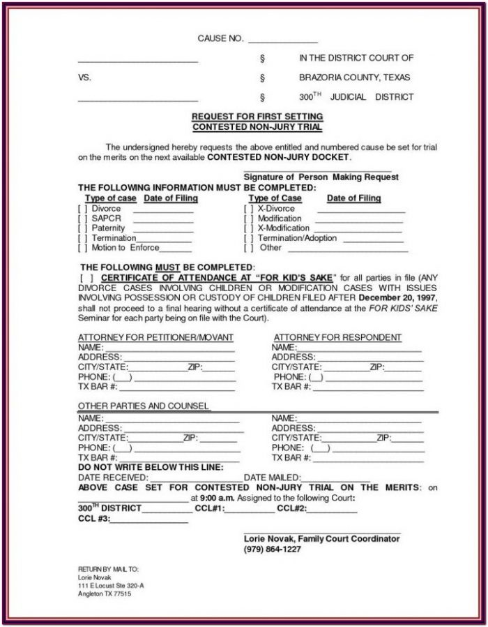 Contested Divorce Forms Texas