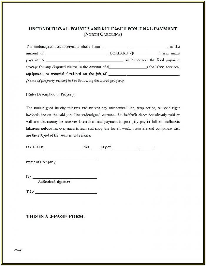 Contractor Construction Lien Release Form