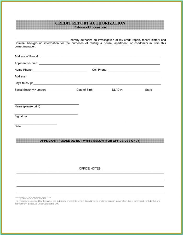 Credit And Background Check Authorization Form