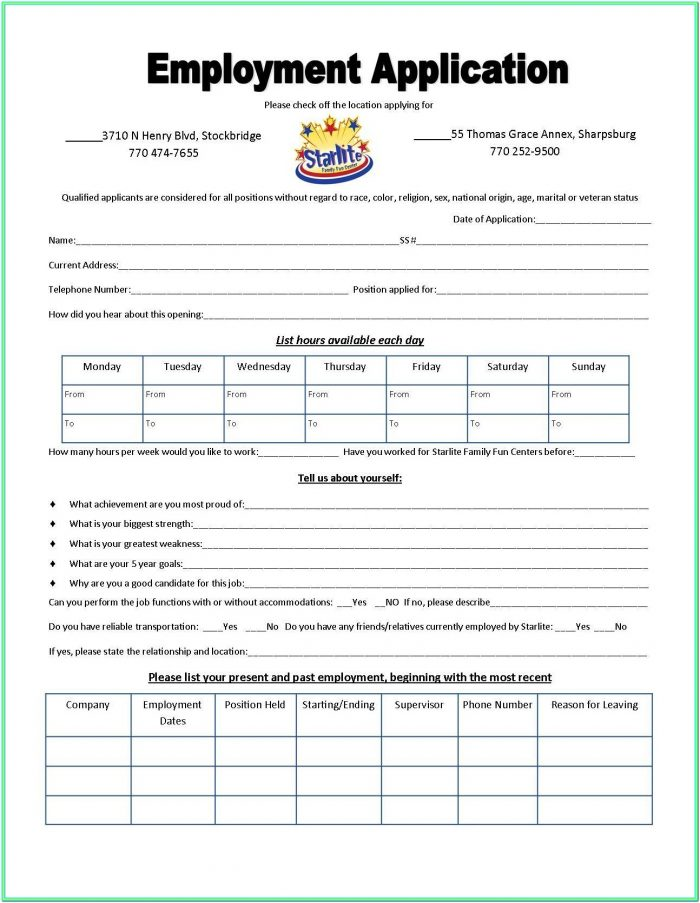 Day Care Application Form Sample