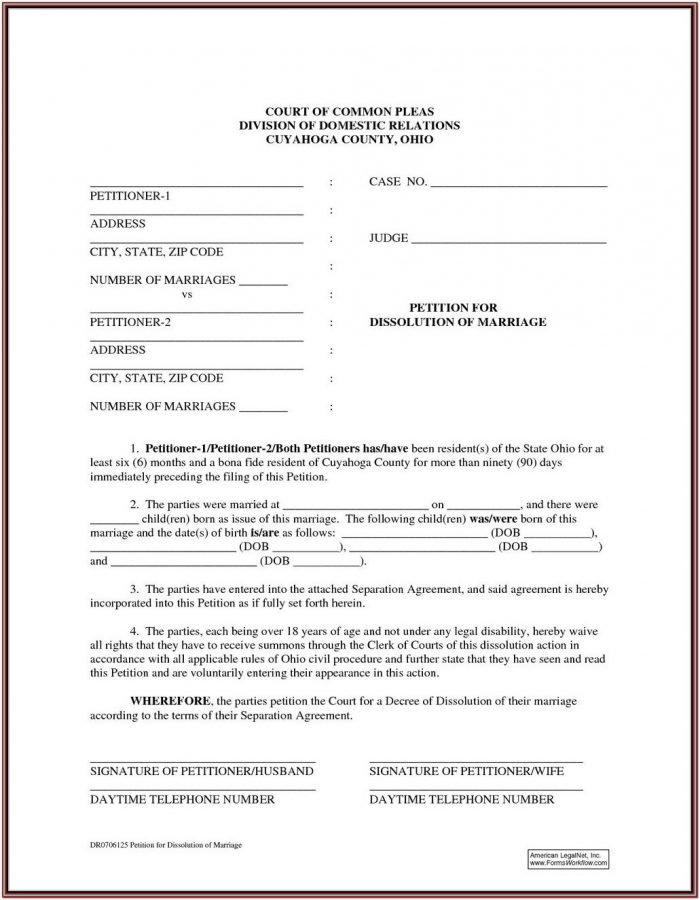 Dissolution Of Marriage Forms