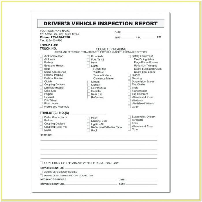 Dot Daily Inspection Form