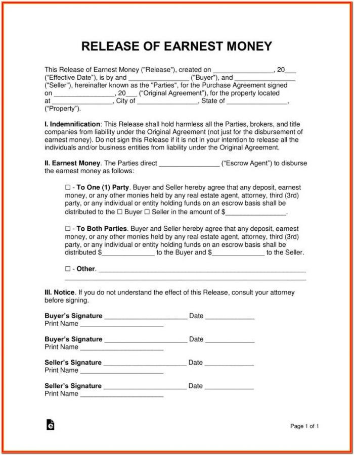 Earnest Money Contract Form