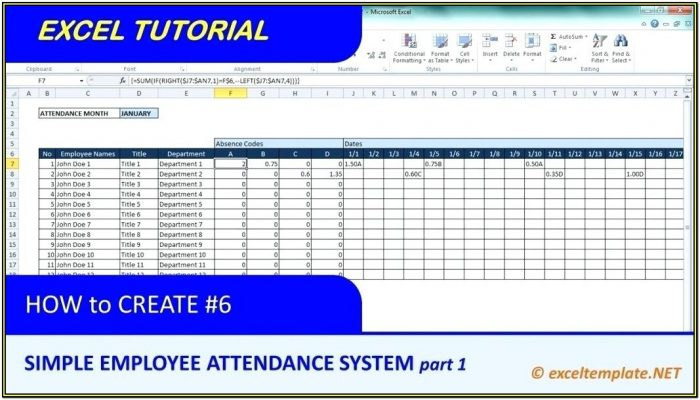 Employee Attendance Tracking Form