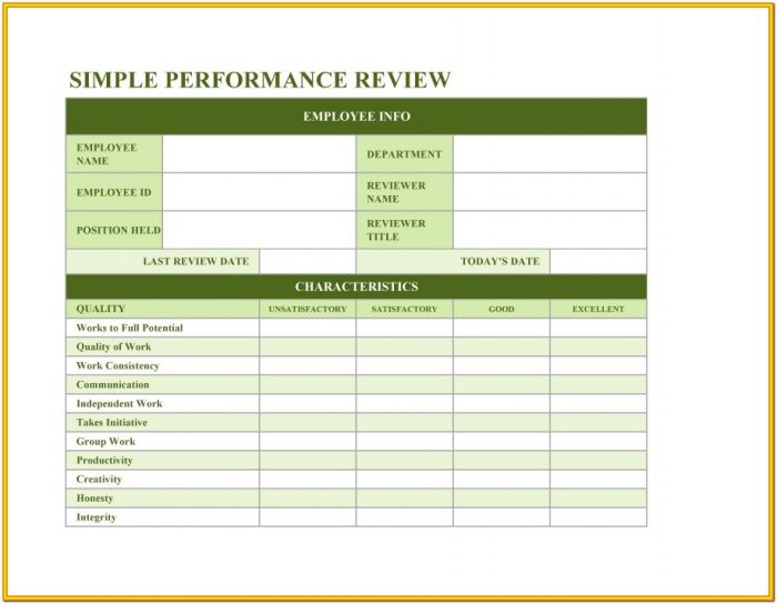 Employee Review Downloadable Free Employee Evaluation Forms Printable