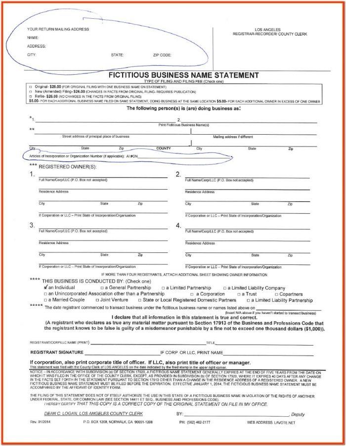 Fictitious Business Name Statement Form San Bernardino County