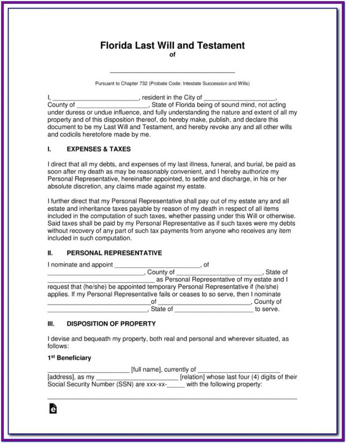 Florida Last Will And Testament Form