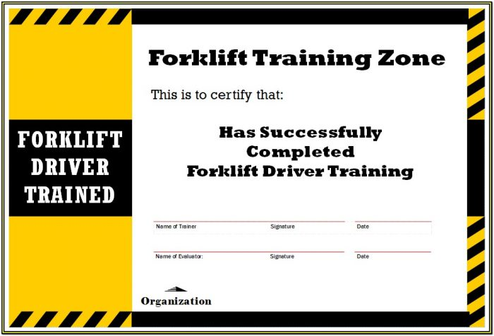 Forklift Certification Forms Pdf