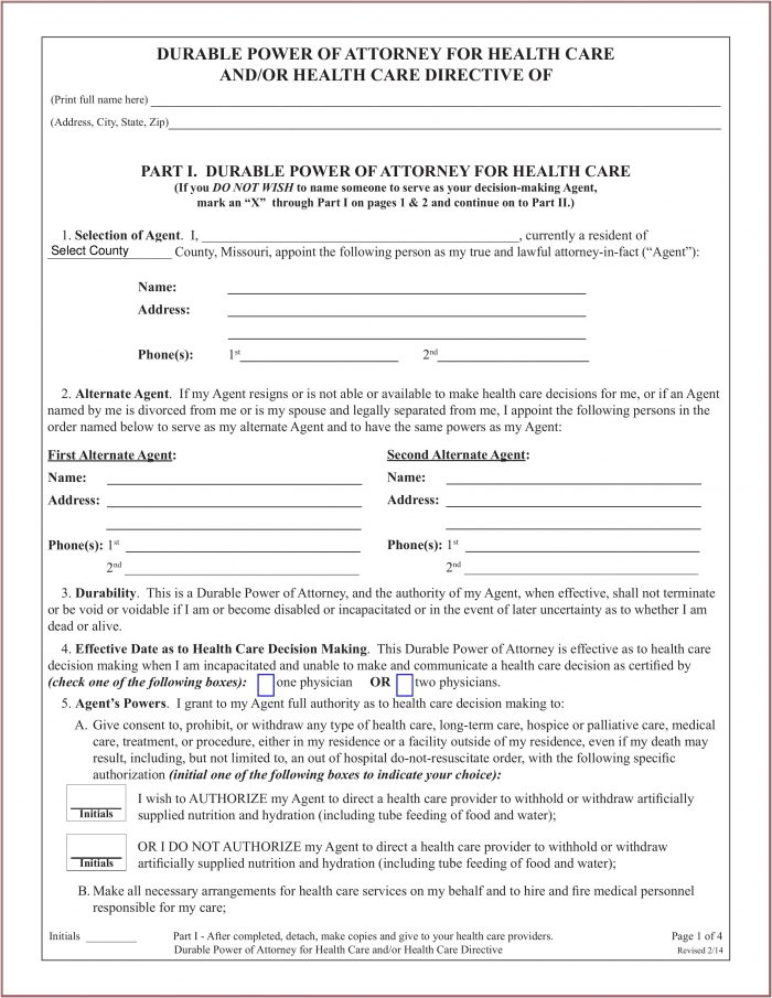 Form For Durable Power Of Attorney