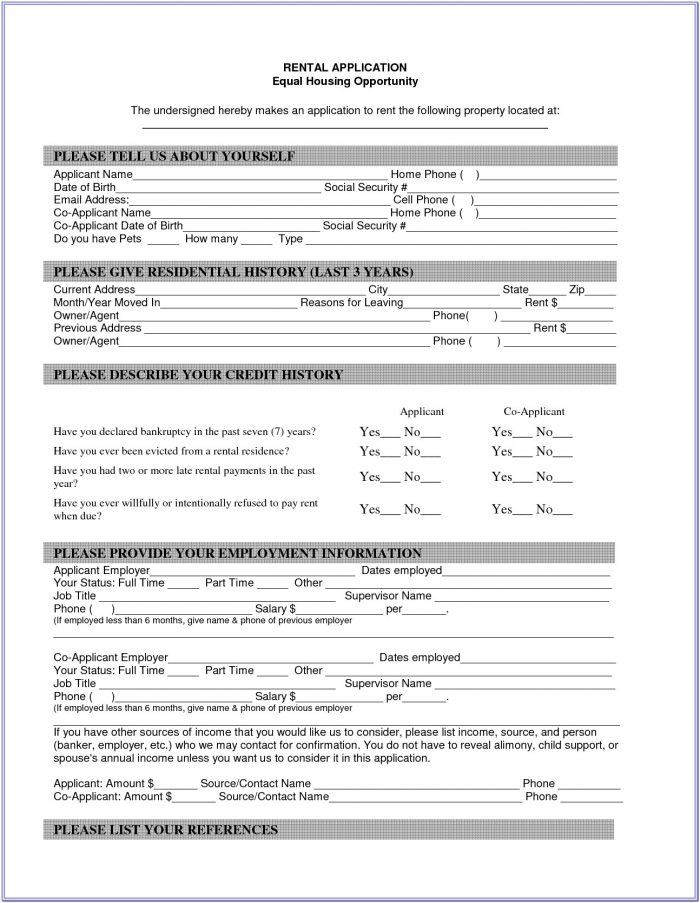 Free Blank Rental Agreement Form
