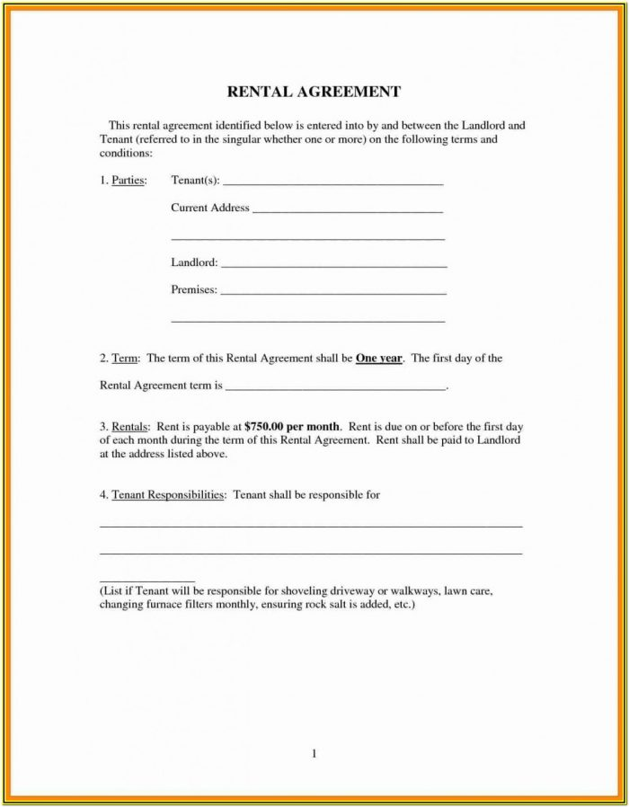 Free Lease Agreement Forms To Print