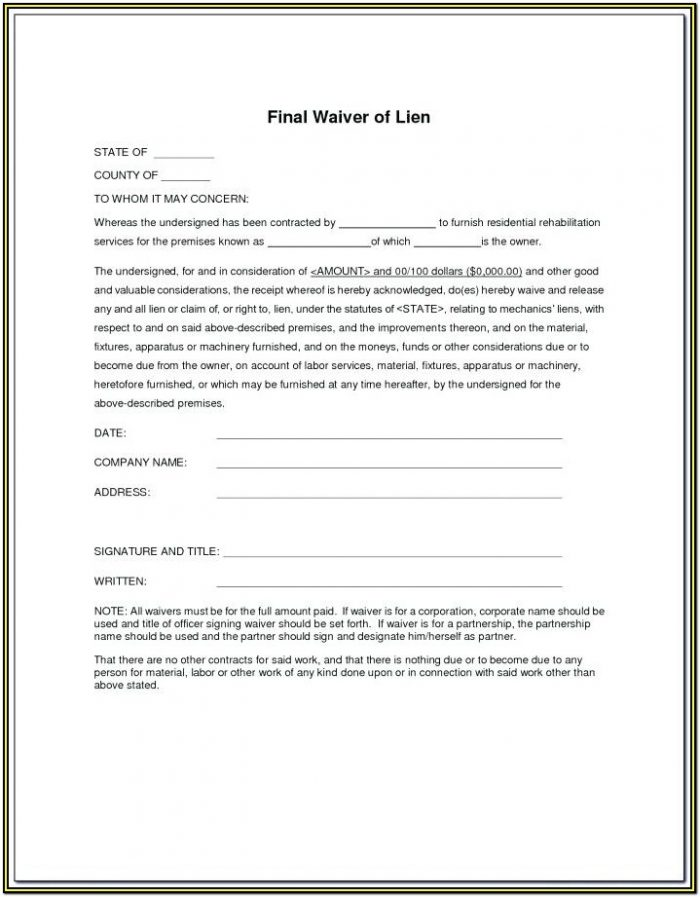 Free Lien Waiver Form Illinois