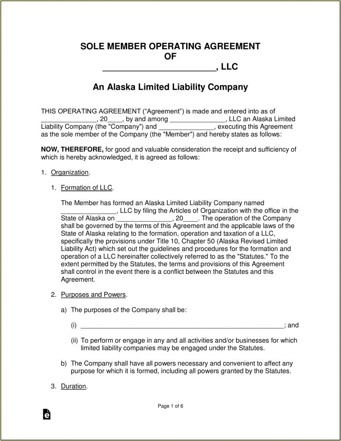 Free Llc Operating Agreement Form