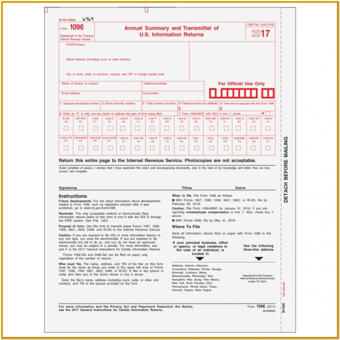 Free Printable 1099 Misc Form 2017