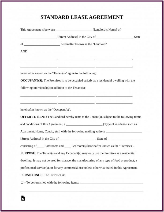 Free Rental Lease Forms