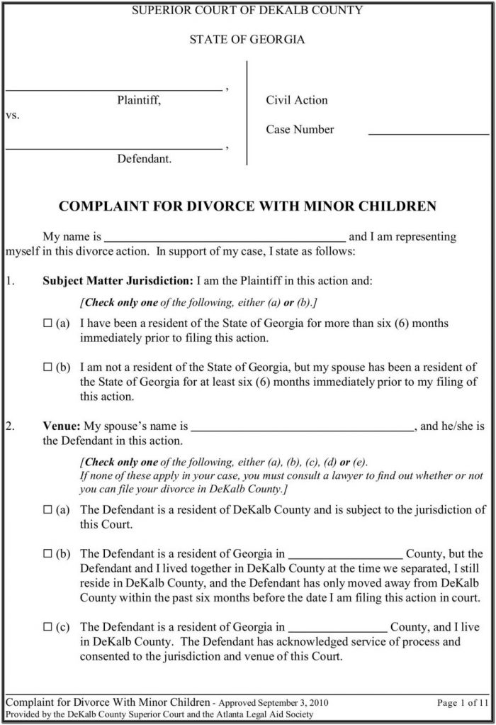 Georgia Uncontested Divorce Forms With Minor Child