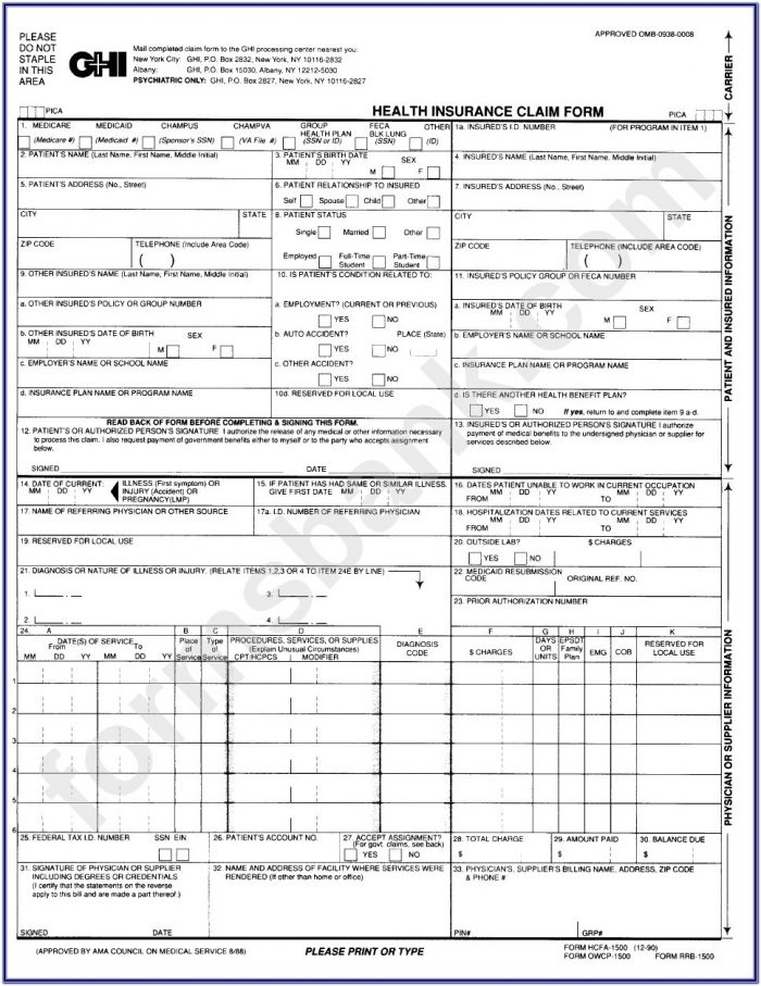 Health Insurance Claim Form 1500 Template