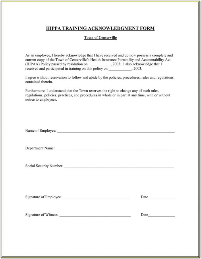 Hipaa Agreement Form For Employees