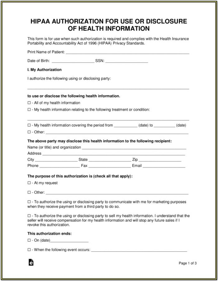Hipaa Compliant Medical Records Release Form