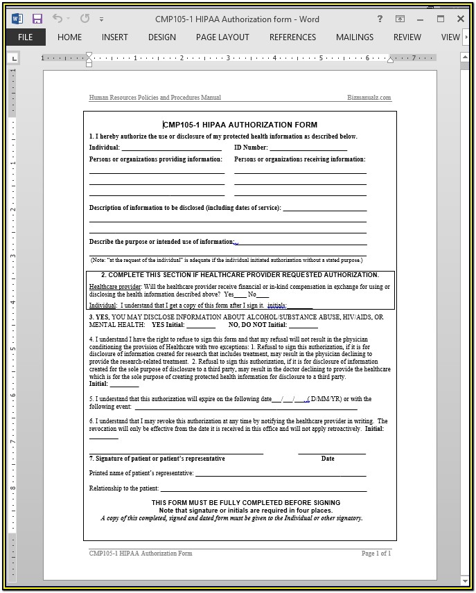 Hipaa Compliant Medical Release Form