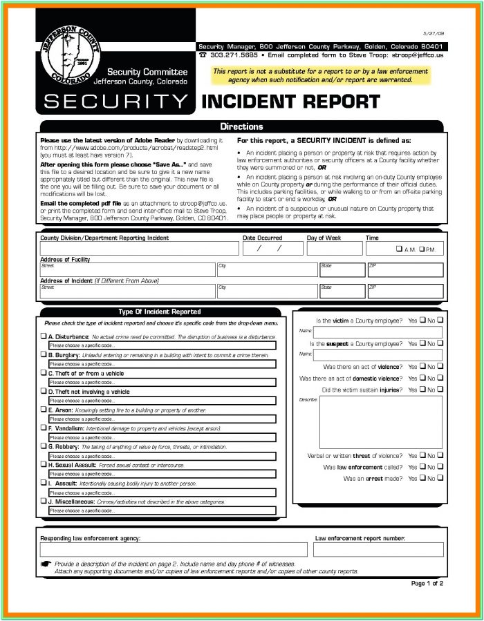 Hipaa Incident Report Form