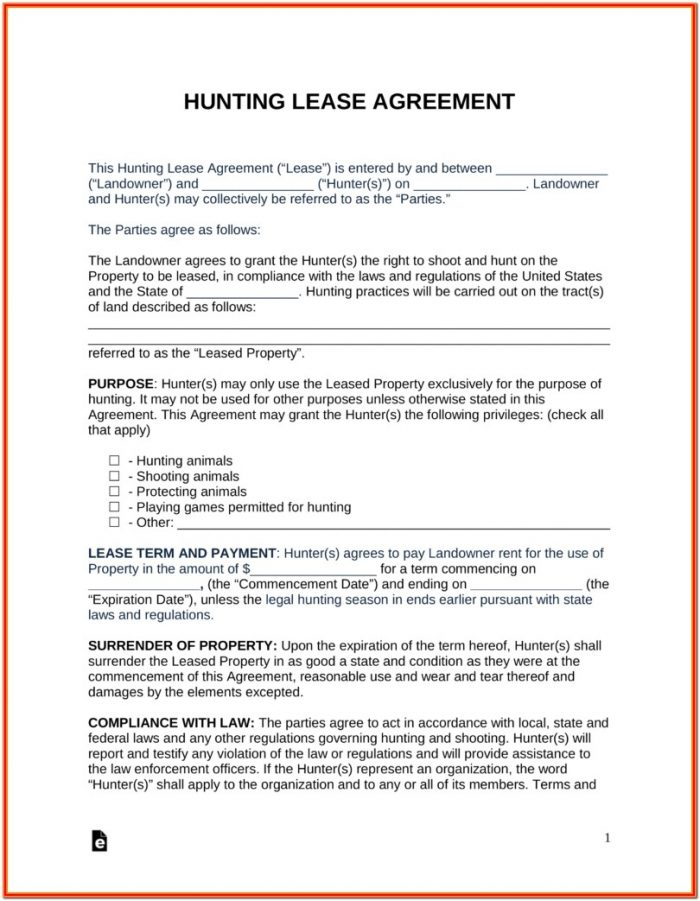 Hunting Land Lease Form