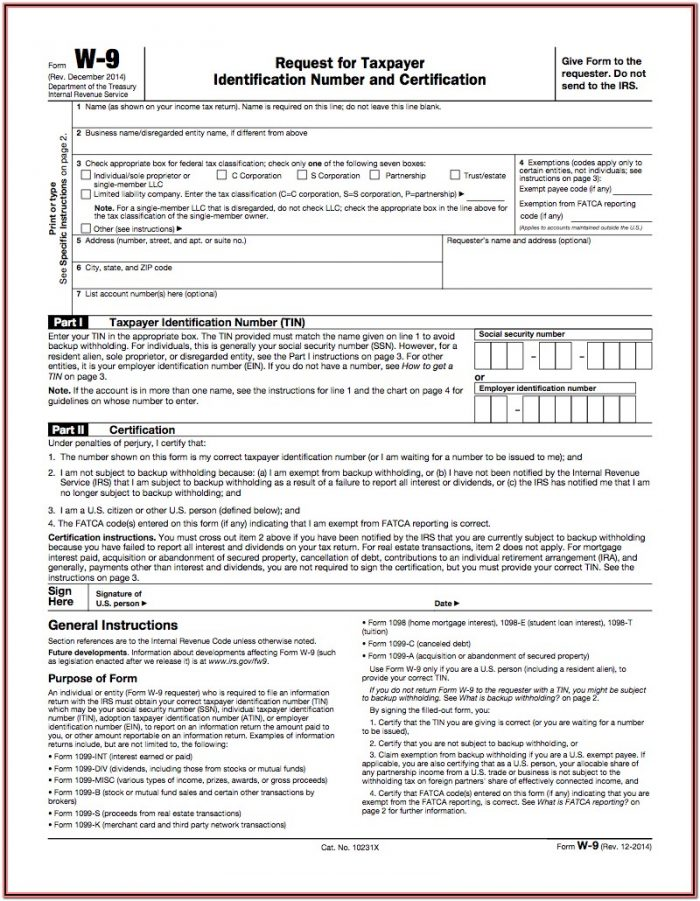 Internal Revenue Service Tax Forms 2014