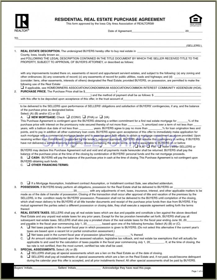 Land Purchase Agreement Land Contract Form