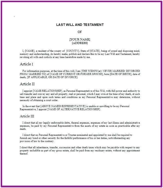 Last Wills And Testament Forms
