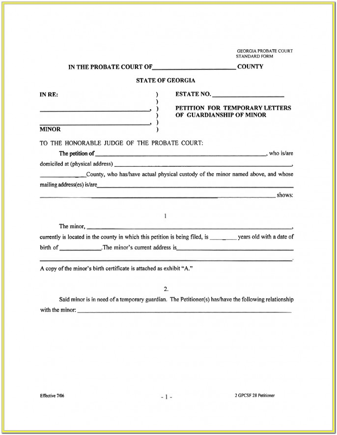 Legal Guardianship Free Temporary Guardianship Form