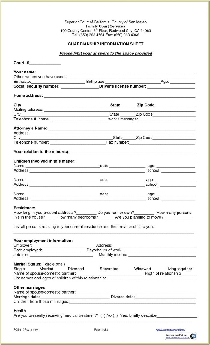 Legal Guardianship Temporary Guardianship Agreement Form