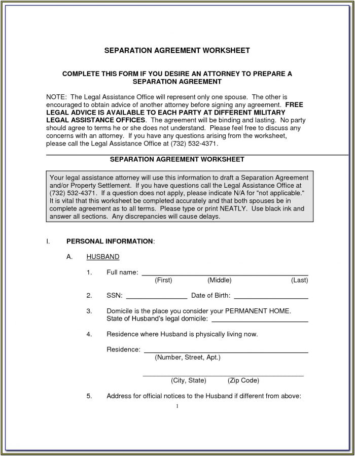 Legal Separation In Nc Forms