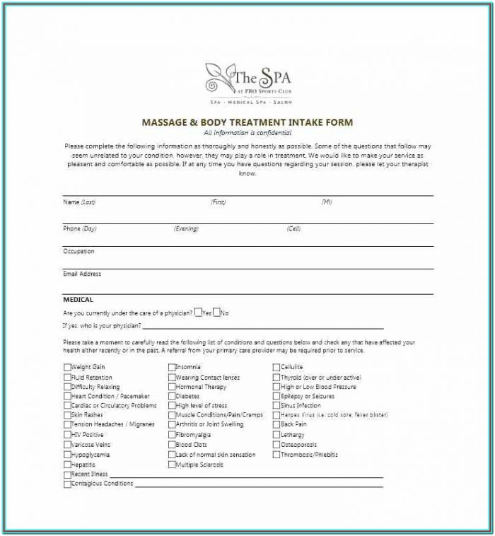 Massage Therapy Printable Massage Intake Form Template