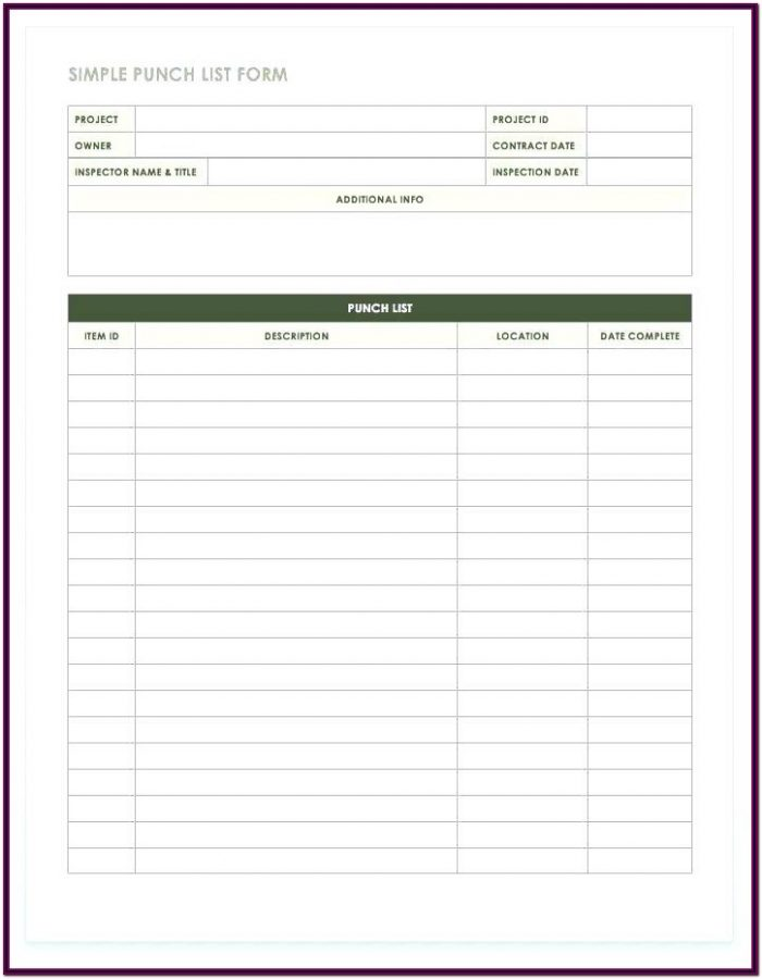 New Construction Punch List Form