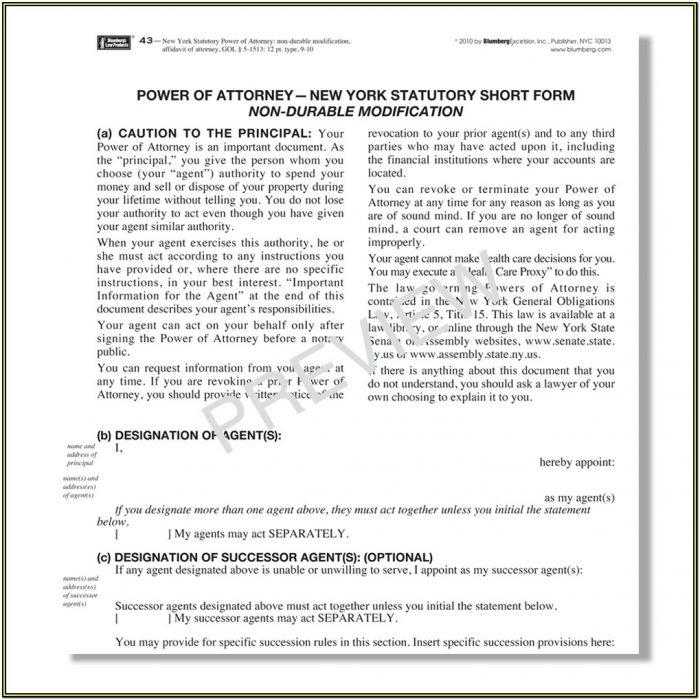 New York Durable Power Of Attorney Form 2018