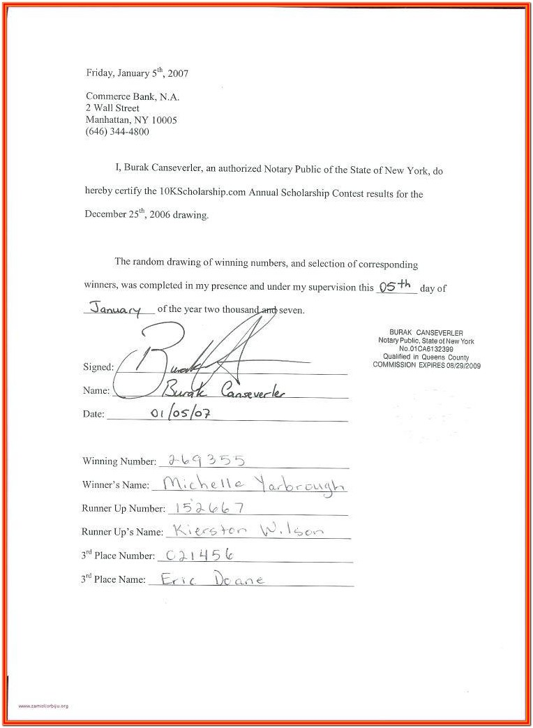 Notary Certificate Format