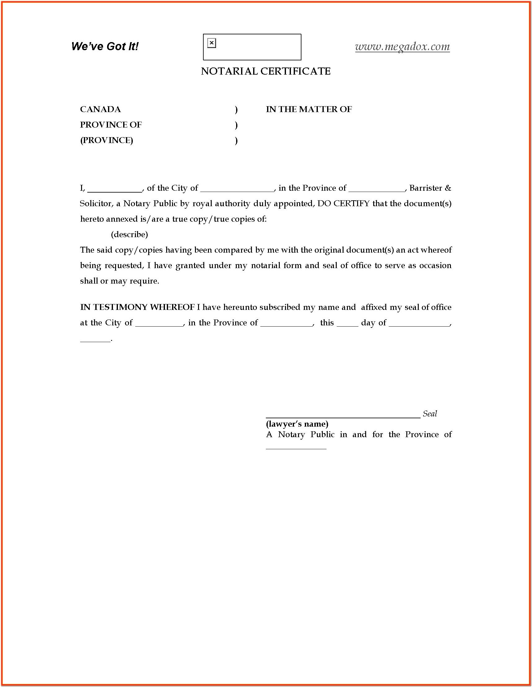 Notary Certificate Forms Online