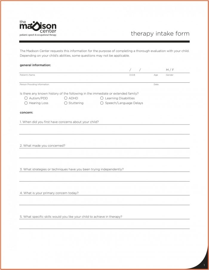 Occupational Therapy Intake Form Template