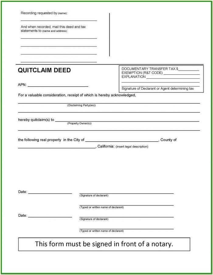 Oklahoma Quit Claim Deed Form Individual