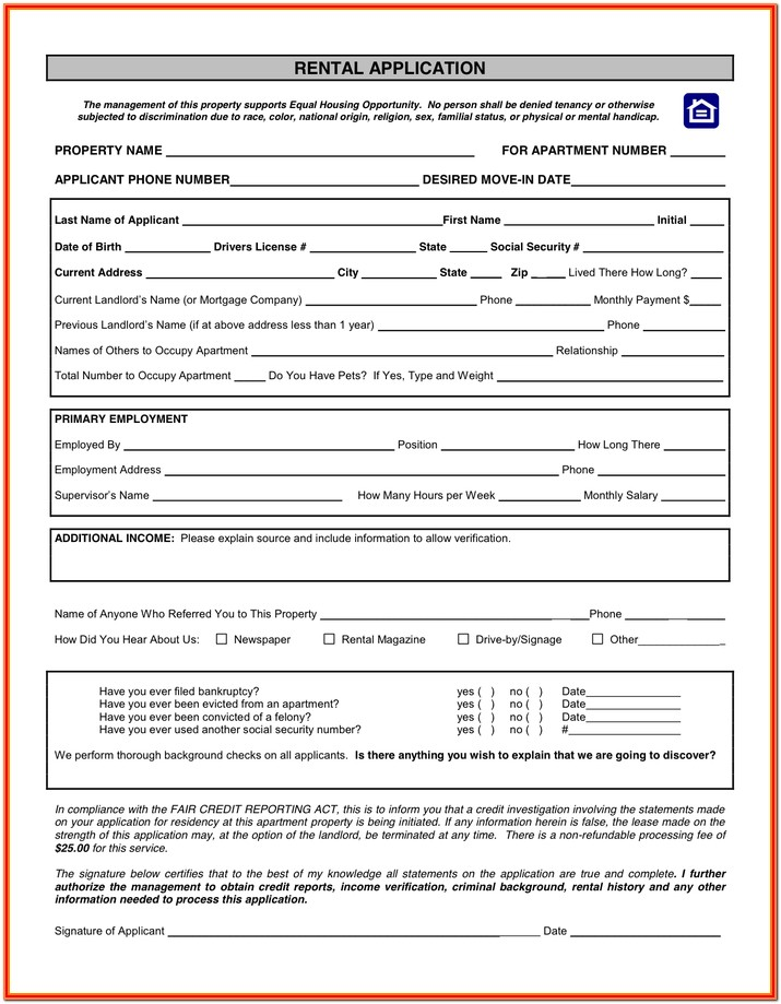 Oregon Rental Application Form