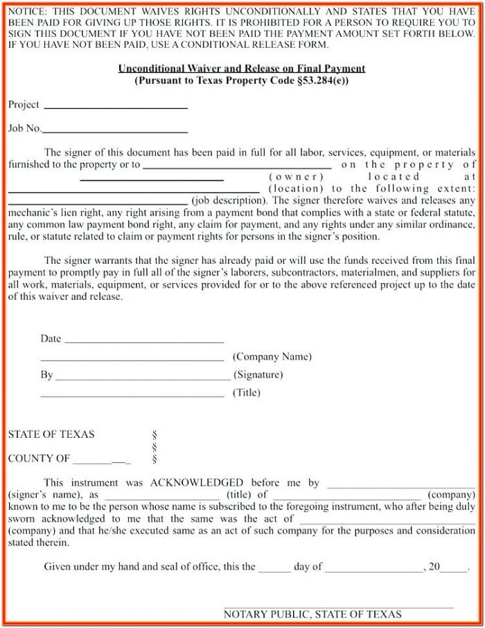 Partial Lien Waiver Form