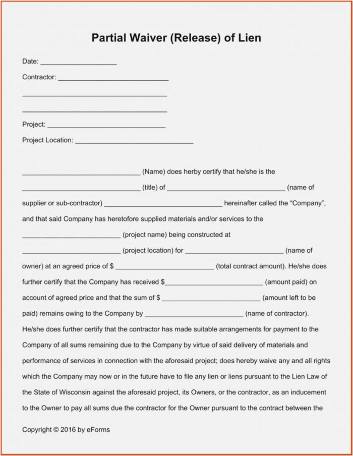 Partial Lien Waiver Form Pdf