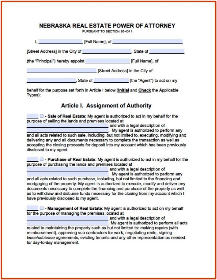 Power Of Attorney Form Nebraska