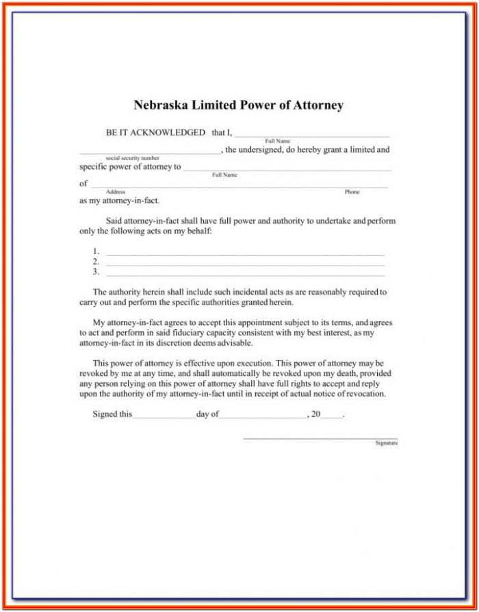 Power Of Attorney Form Nebraska Printable