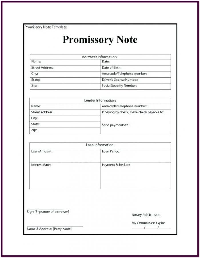 Printable Free Blank Promissory Note Forms