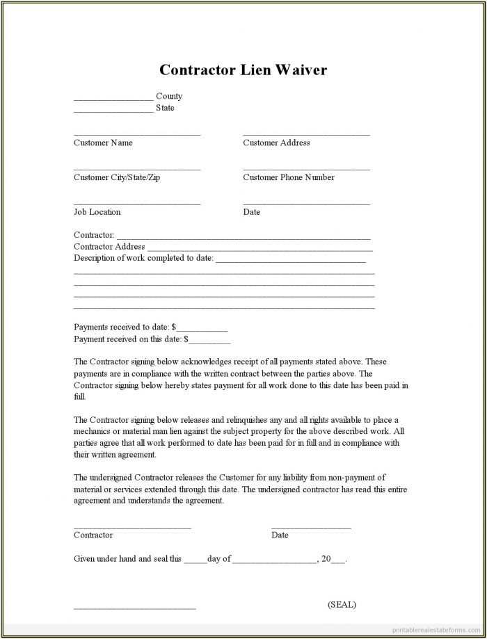 Printable Free Lien Waiver Form
