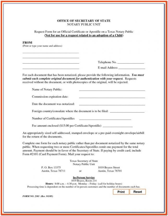 Printable Notary Certificate Form